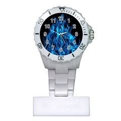 Digitally Created Blue Flames Of Fire Plastic Nurses Watch