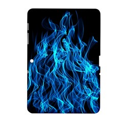 Digitally Created Blue Flames Of Fire Samsung Galaxy Tab 2 (10.1 ) P5100 Hardshell Case