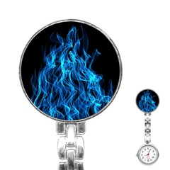 Digitally Created Blue Flames Of Fire Stainless Steel Nurses Watch