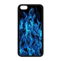 Digitally Created Blue Flames Of Fire Apple iPhone 5C Seamless Case (Black)