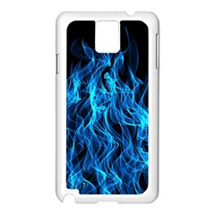Digitally Created Blue Flames Of Fire Samsung Galaxy Note 3 N9005 Case (White)