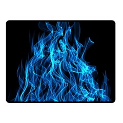 Digitally Created Blue Flames Of Fire Double Sided Fleece Blanket (Small)