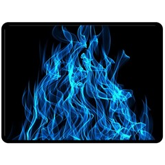 Digitally Created Blue Flames Of Fire Double Sided Fleece Blanket (large)