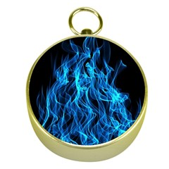 Digitally Created Blue Flames Of Fire Gold Compasses
