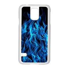 Digitally Created Blue Flames Of Fire Samsung Galaxy S5 Case (white)