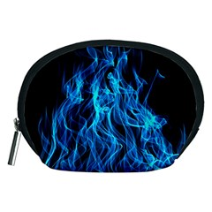 Digitally Created Blue Flames Of Fire Accessory Pouches (Medium)