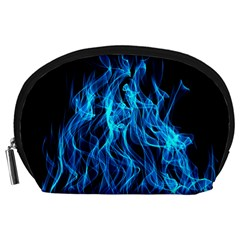 Digitally Created Blue Flames Of Fire Accessory Pouches (large)