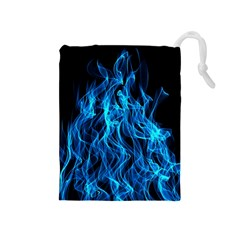 Digitally Created Blue Flames Of Fire Drawstring Pouches (Medium)