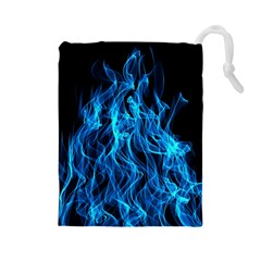 Digitally Created Blue Flames Of Fire Drawstring Pouches (Large)