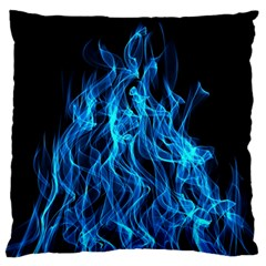Digitally Created Blue Flames Of Fire Large Flano Cushion Case (two Sides)