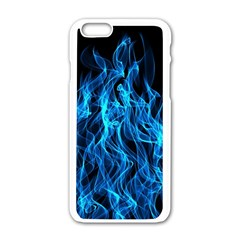 Digitally Created Blue Flames Of Fire Apple Iphone 6/6s White Enamel Case