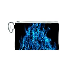 Digitally Created Blue Flames Of Fire Canvas Cosmetic Bag (S)
