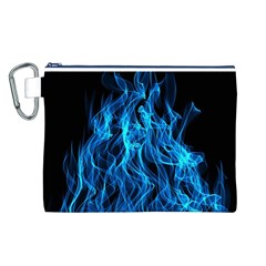 Digitally Created Blue Flames Of Fire Canvas Cosmetic Bag (L)
