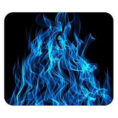 Digitally Created Blue Flames Of Fire Double Sided Flano Blanket (small)