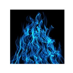Digitally Created Blue Flames Of Fire Small Satin Scarf (square)