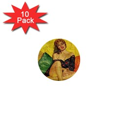 Pin up girl  1  Mini Buttons (10 pack)
