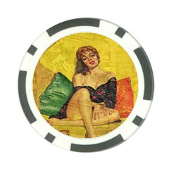 Pin up girl  Poker Chip Card Guard