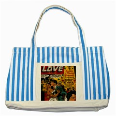 Love stories Striped Blue Tote Bag