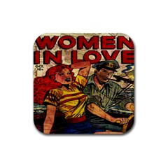 Woman in love Rubber Square Coaster (4 pack)