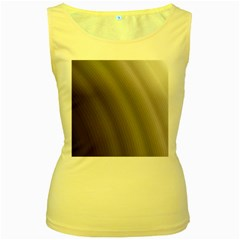 Fractal Background With Grey Ripples Women s Yellow Tank Top