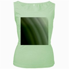 Fractal Background With Grey Ripples Women s Green Tank Top
