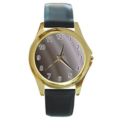 Fractal Background With Grey Ripples Round Gold Metal Watch