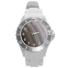 Fractal Background With Grey Ripples Round Plastic Sport Watch (l)