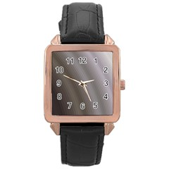 Fractal Background With Grey Ripples Rose Gold Leather Watch