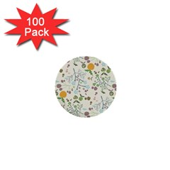 Floral Kraft Seamless Pattern 1  Mini Buttons (100 Pack)