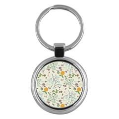 Floral Kraft Seamless Pattern Key Chains (round)