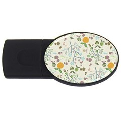 Floral Kraft Seamless Pattern USB Flash Drive Oval (1 GB)