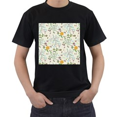 Floral Kraft Seamless Pattern Men s T-Shirt (Black) (Two Sided)
