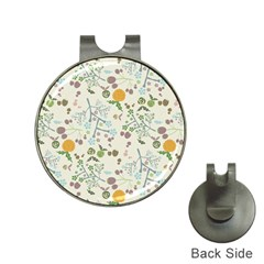 Floral Kraft Seamless Pattern Hat Clips with Golf Markers