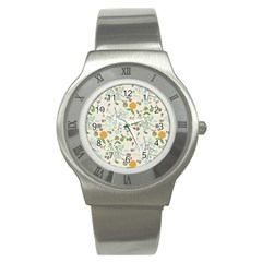 Floral Kraft Seamless Pattern Stainless Steel Watch