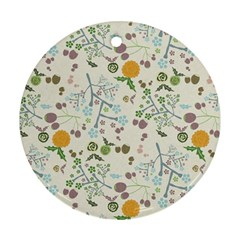 Floral Kraft Seamless Pattern Round Ornament (Two Sides)