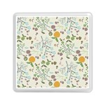 Floral Kraft Seamless Pattern Memory Card Reader (Square)  Front