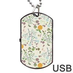Floral Kraft Seamless Pattern Dog Tag Usb Flash (two Sides)