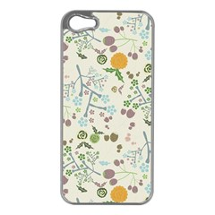 Floral Kraft Seamless Pattern Apple iPhone 5 Case (Silver)