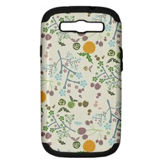 Floral Kraft Seamless Pattern Samsung Galaxy S III Hardshell Case (PC+Silicone)