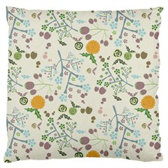 Floral Kraft Seamless Pattern Large Flano Cushion Case (Two Sides)
