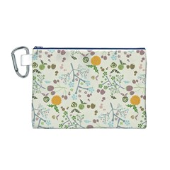 Floral Kraft Seamless Pattern Canvas Cosmetic Bag (M)