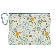 Floral Kraft Seamless Pattern Canvas Cosmetic Bag (XL)