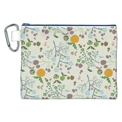 Floral Kraft Seamless Pattern Canvas Cosmetic Bag (XXL)