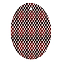 Squares Red Background Ornament (oval)
