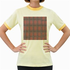 Squares Red Background Women s Fitted Ringer T-Shirts