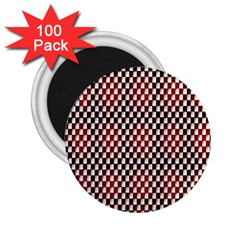 Squares Red Background 2 25  Magnets (100 Pack)