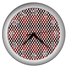 Squares Red Background Wall Clocks (silver)