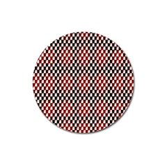 Squares Red Background Magnet 3  (Round)