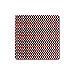 Squares Red Background Square Magnet