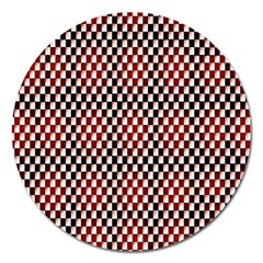 Squares Red Background Magnet 5  (Round)